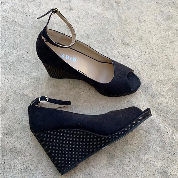 Torrid Black Peep Toe Ankle Strap Wedge
